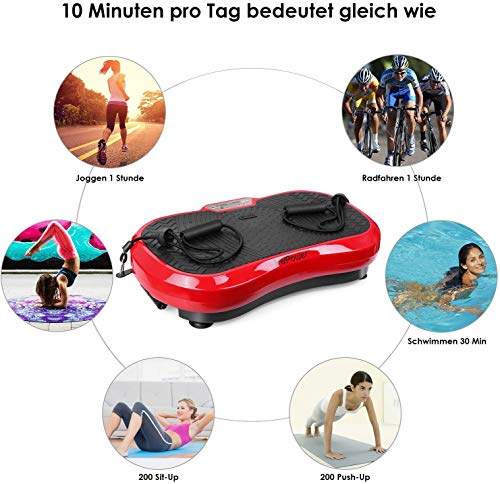 MVPower Fitness Ultraflache Vibrationsplatte mit Leisem Motor | LCD Display | 120 Level | Inkl. Fernbedienung, Trainingsbänder,belastbar bis 180 kg (Schwarz-Rot)