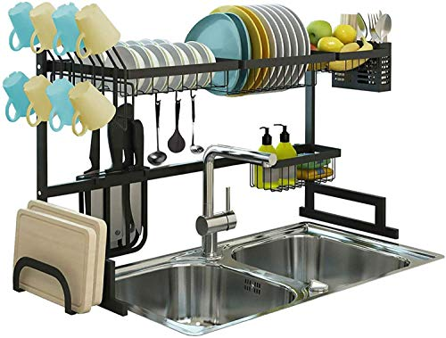 Adjustable Over The Sink Dish Drying Rack, Drainer, Supplies Storage, Counter Organizer, Utensils Holder, 2 Tier for Kitchen Countertop, Rustless Stainless Steel, Space Saver Stand (Black)
