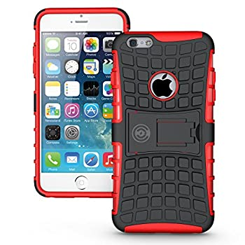 iPhone 6S Plus Case iPhone 6 Plus Case by Cable And Case - Raised Screen Protector - Compatible Apple iPhone 6S Plus Case with Kick Stand - Phone Cases for iPhone 6s Plus-  RED