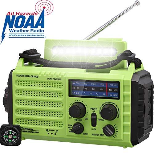AM/FM/SW Baustellenradio Kurbelradio, Tragbares 5-Wege Wetter Radio mit Solar,Dynamo Handkurbel,Power Bank,LED Camping Licht,SOS-Alarm,Kompass,USB-Anschluss zum Aufladen des Mobiltelefons im Notfall