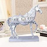 LKXZYX Decorativos Figuras Salon candelabros de Jardin Exterior Miniatura,Caballo de trote Plateado Estatua Caballo Estatuilla Miniatura Decoración de Oficina en casa