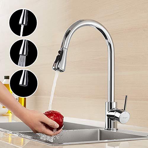IBERGRIF M22136, Küchenarmatur mit ausziehbare Brause, Spültischbatterie, Küche Wasserhahn, Chrom, Silber