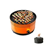 Portable Charcoal BBQ Grill Hibachi Grill Korean BBQ Grill Small&Mini Grill Suitable for Camping Indoor Outdoor Tabletop Picnic ,Orange