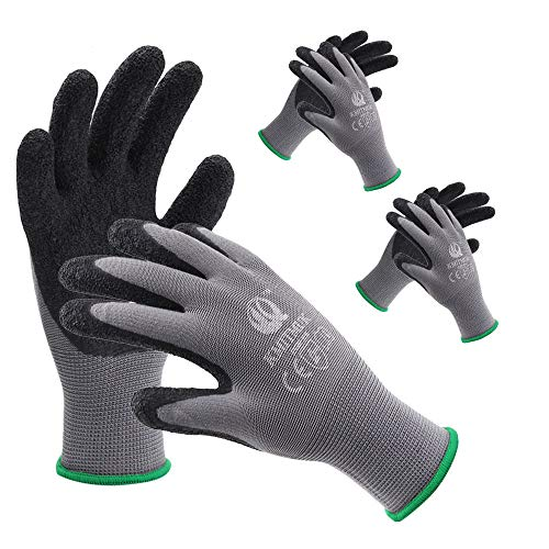 Gardening Gloves, Kmitmuk 3 Pairs Latex Textured Coated Garden Gloves, Polyester Knit Breathable Working Gloves for Men and Women (Grey/Black, Medium)