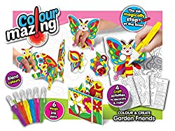 The colour magically stops at the lines. Watch the ink spread to create perfect pictures. Set includes 4 craft projects and 6 coloured ink pens. Completely washable ink