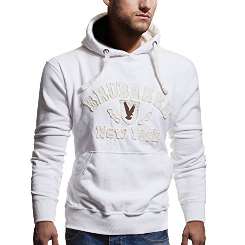 BRUBAKER N.Y. Eagle Sweat-Shirt à Capuche Homme Blanc M
