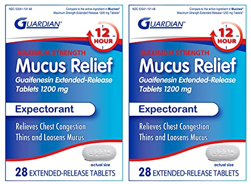 Guardian Mucus Relief 12 Hour Extended Release Guaifenesin, 1200mg Maximum Strength, 56 Count, Chest Congestion Expectorant Tablets