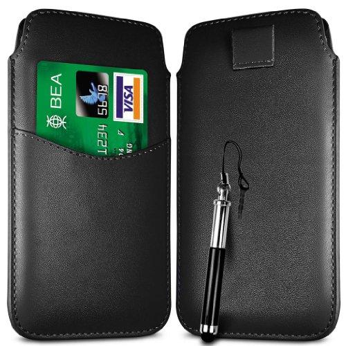 N4U Online Schwarz Card Slot Premium-PU-Leder Flip Pull Tab Hülle Tasche & versenkbaren Stift für Huawei Ascend Y210D
