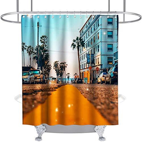 Tropischer Duschvorhang Autos Kokosnussbaum Sommernacht Pflanzenhaus Thema Stoff Kinder Badezimmer Dekor Sets Mit Haken Wasserdicht Waschbar Orange & Blau