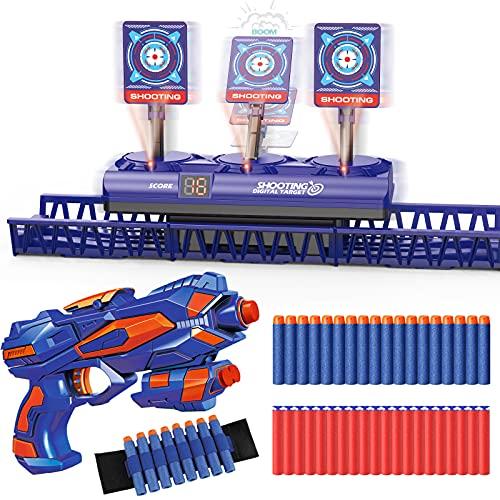 Objetivo de Tiro Electrónico Móvil para Nerf Pistola, Diana Digital con 1 Armas Juguete, 40 Dardos Espuma, Reinicio Automático, Puntuación y Sonido, Juego al Aire Libre Chicos, Regalo Niño 4 a 15 años