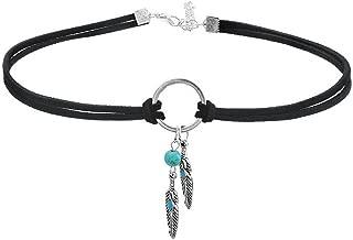 Native American Bohemian Feather Charm Handmade PU Leather Choker Necklace