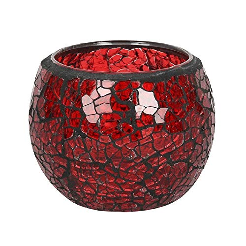 TECH ISLAND Candle Holders, Crackle Glass Design, Round Tea light, for Room Décor, Ornaments, Made with Glass (Red)