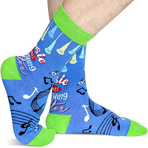 Music Socks Men, Novelty Music Notes Microphone Crew Socks Gift for Music Lovers Teen Boys