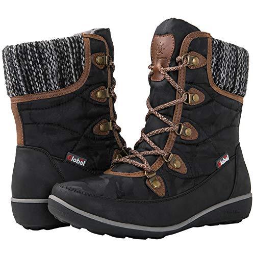 GLOBALWIN Women's 1841 Black/Brown Winter Snow Boots 8.5M