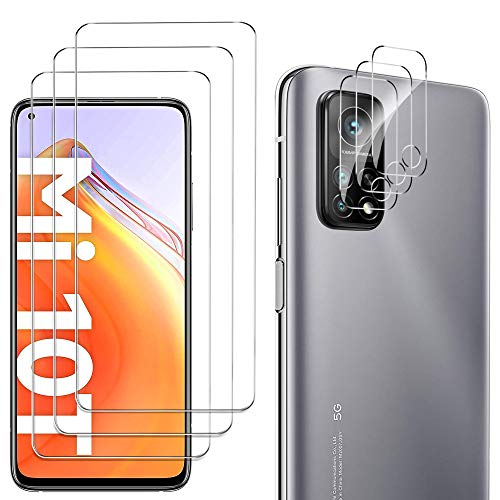 GESMA Schutzfolie Kompatibel mit Xiaomi MI 10T / MI 10T Pro 3 Stücke und Kamera Panzerglas 3 Stück, Displayschutzfolie Kompatibel mit Xiaomi MI 10T / MI 10T Pro.