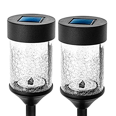 Home Zone Security Solar Pathway Light - Decorative Rotating LED Large Path Lights with Crackle Glass Housing, 2-Pack