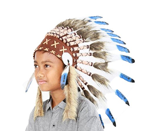 KARMABCN N34 Sombrero Indio 5-8 aos Nio/Nia: Penacho con Pluma Real para 21 Pulgadas o 53,4 cm Azul