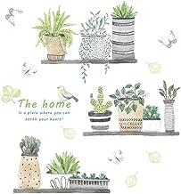 Creativas de la pared plantas verdes delicados Pegatinas de pared desmontable de la etiqueta autoadhesiva para la etiqueta...