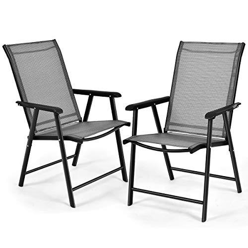 S AFSTAR Folding Patio Chairs, Portable Chair with Armrests for Outdoor Lawn Garden Backyard Poolside (Gray Set of 2)