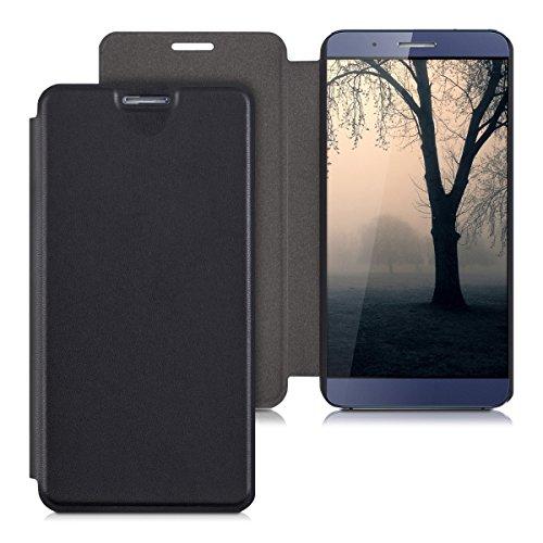 kwmobile Huawei ShotX Hülle - Kunstleder Handy Schutzhülle - Flip Cover Case für Huawei ShotX - Schwarz