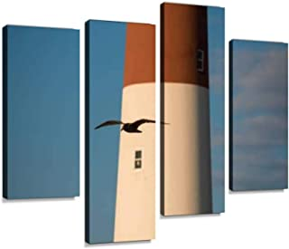 4 Panel barnegat lighthouse new jersey seen from the beach jersey shore Canvas Pictures Home Decor Gifts Canvas Wall Art f...