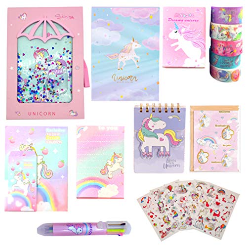 RLGPBON Unicorn Stationery Set, Unicorn Journal Notebook ,Secret Diary with Lock ,and Unicorn Stickers ,Memo Pad,Ballpoint Pen, Tape, Letter Paper, Notepad, Desktop Mirror,Gift for Girl