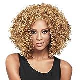 Pelucas de pelo rizado for las mujeres Negro, cabello natural rizado peluca, sintético rizado rizado afro pelucas de pelo humano corto mullido llena ondulada pelucas con flequillo, 16 pulgadas