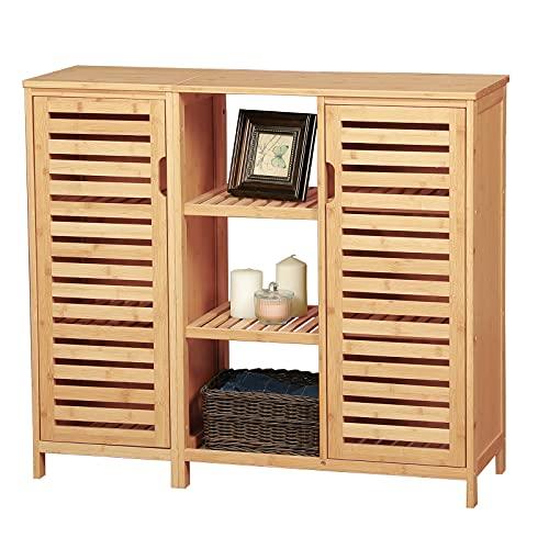 VIAGDO Kommode Sideboard, Bambus Beistellschrank, Küchenschrank, Schrank mit 2 Lamellentür und...