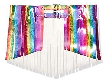 Daisy corsets Women s Rainbow Glitter Fringe Mini Skirt Medium
