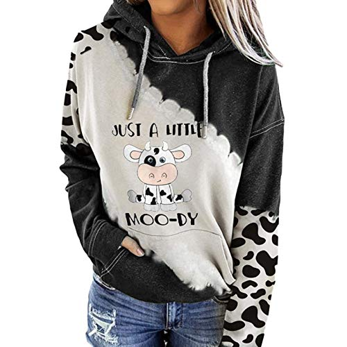 Your New Look Long-sleeved, colour-blocking pocket sweatshirt with cow print and hoodie for women with long sleeves. - White - M
