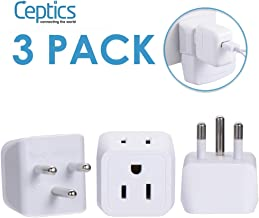 Ceptics Thailand Travel Adapter with Dual Usa Input (Type O) Ultra Compact - 3 Pack - Safe Grounded Perfect for Cell Phones, Laptops, Camera Chargers and More (CT-18)
