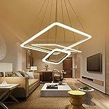 Lampadario a LED quadrato moderno a cerchio per soggiorno Sala da pranzo Lustri Lampada a sospensione Lampadario a soffitto Apparecchio di illuminazione, dimmerabile con telecomando, 40 60 80cm 3ring