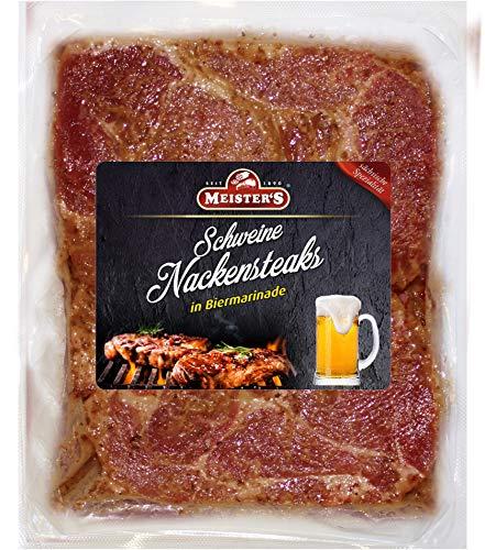 Bautzner Senf Steak Fleisch | Mariniertes Grillfleisch mit Bier, Schwarzbier, Kräuter und Senfmarinade | Frisches Steakfleisch für Grill und Pfanne (Bier, 1200 GR)