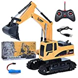 Remote Control Excavator Boys Toys 1/24 Scale RC Excavator Truck, Multifunctional Off-Road Rechargable Tractor Sand Digger Construction Vehicle Toy with Flashing Lights, for Boys Girls
