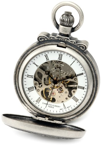 Charles-Hubert, Paris 3866-S Classic Collection Antiqued Finish Double Hunter Case Mechanical Pocket Watch
