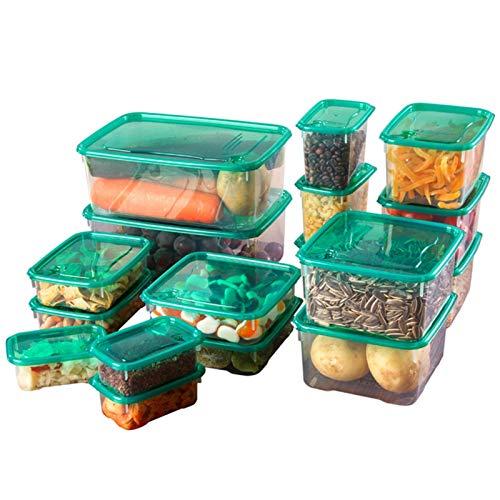 17 unids Alimentación Alimento Contenedor Cocina Caja de Almacenamiento Caja de Almacenamiento Transparente Sellado Almacenaje Contenedor Refrigerador Sellado Caja de Mantenimiento de Fresco Plástico