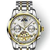 DRAKE18 Automatische mechanische Uhr, wasserdicht leuchtende Sportmode Trend großes Zifferblatt Wochenanzeige Kalender Thermometer,E