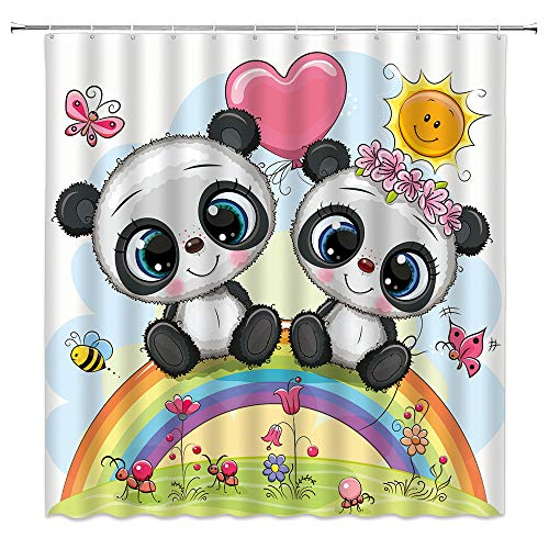 QWRSMYX Cute Panda Floral Sun Butterfly Child Shower Curtain Two Cartoon Panda Sitting On The Rainbow Forest Animal Decor Fabric Bathroom with Hook 70x70 Inch Black White Green