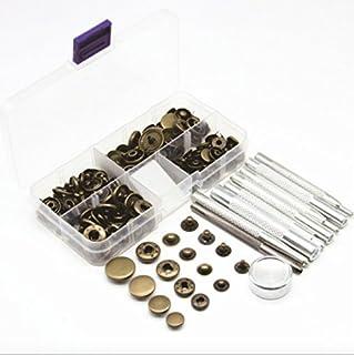 レザークラフト ホック打ち 工具 4種類 ホック 穴あけ ポンチ 打ち具 打ち台 ボタン プラスチックケース 付き 革 DIY