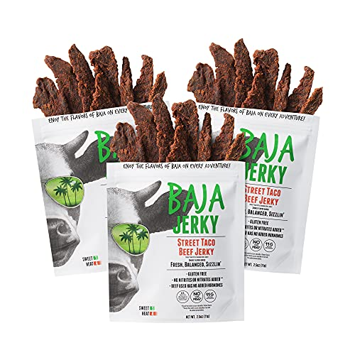 Baja Beef Jerky | Keto Friendly, Gluten Free, Low Calorie Craft Jerky | 25g Protein, 100% All-Natural Beef, No Nitrates | 3 pack 2.5 Oz Bags (Street Taco)