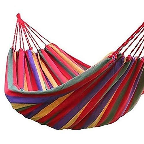 Happyhouse009 Hamaca de Camping, Columpio Colgante, Silla para Colgar, portátil, Arco Iris, Peso Ligero, para Viajes, Cama Colgante, Lona, Rojo, 190X150cm