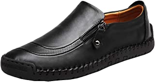 COSIDRAM Men Casual Shoes Summer Sneakers Loafers Breathable Genuine Leather Comfort Walking Shoes Fashion Driving Shoes Luxury Black Brown Leather Shoes for Male Business Work Office Dress Outdoor