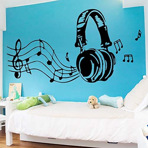 Vinilo Adhesivo Auriculares Notas Musicales Negro para Decoracion Pared o Cristal dormitorios Salones caravanas escaparates, Habitaciones Bares Pub 80 x 45 cm de CHPYHOME