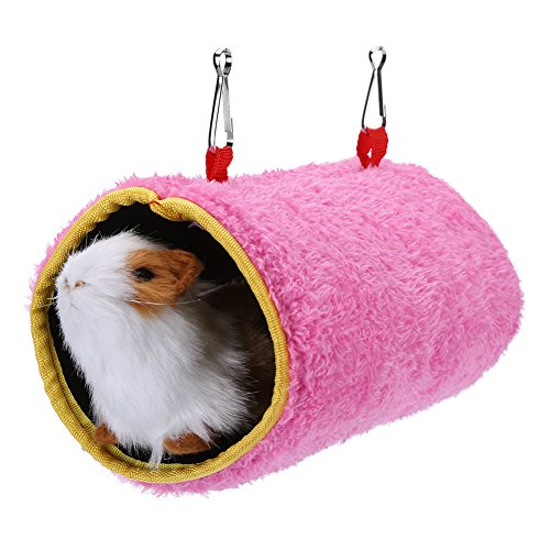 Papegaaien Hangend Bed, Warm Kooi Bed Tunnel Hangmat Huis Voor Kleine Vogeleekhoorn (L Roze)