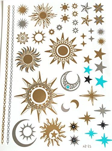 STRASS & PAILLETTES - Tatouages éphémères métallique Waterproof Lune et Soleil -Tatoo temporaire Or - Bijou de Peau doré