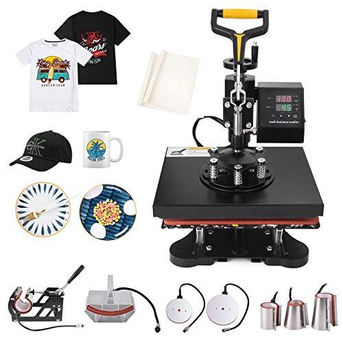 Seeutek Heat Press 8 in 1 Heat Press 12x10 inch Machine 360-Degree Swing Away Digital Heat Transfer Multifunction Sublimation Combo for T Shirts Mugs Hat Plate Cap