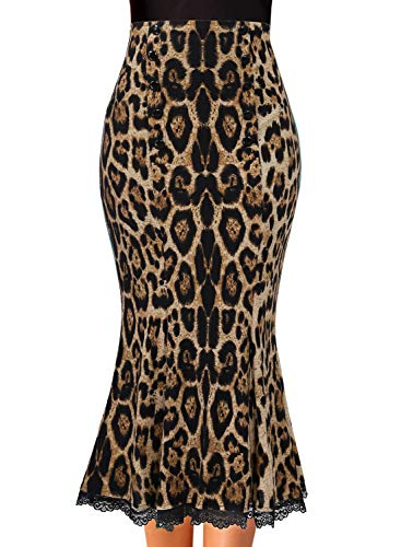 VFSHOW Womens Brown Leopard Print Vintage Buttons Work Office Business Party Mermaid Bodycon Pencil Midi Skirt 3226 Leo M