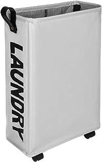 Amazon Brand – Umi Panier à Linge Pliable avec 4 Roues,Corbeilles à Linge Mince et Pliant,Collecteur de Buanderie Bac à Li...