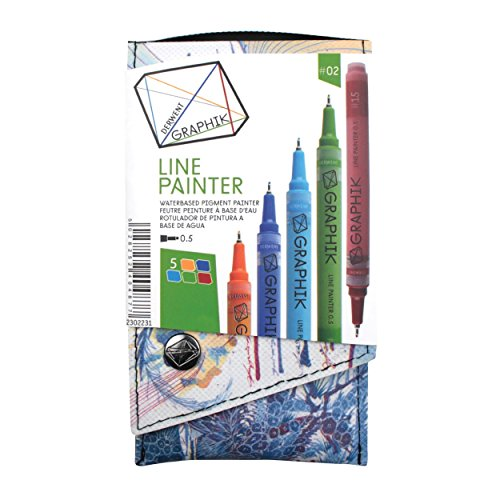 Derwent Graphik Line Painter bunte Fineliner, Palette Nr. 1, 5 Stück 5 Clockwork, Brilliant, High, Envy, Brickroad
