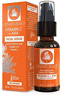 OZNaturals Vitamin C and AHA Serum: Vitamin C 20 + AHA Glycolic Acid Skin Care Serum for Face - Gentle Anti Aging Chemical Exfoliant Facial Serum with Alpha Hydroxy Acid and Hyaluronic Acid - 1 Fl Oz